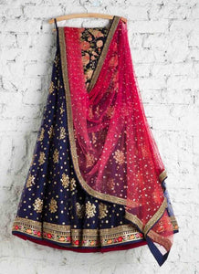 Buy Punjabi Bridal Lehenga In Blue SFIN229SD - Siya Fashions