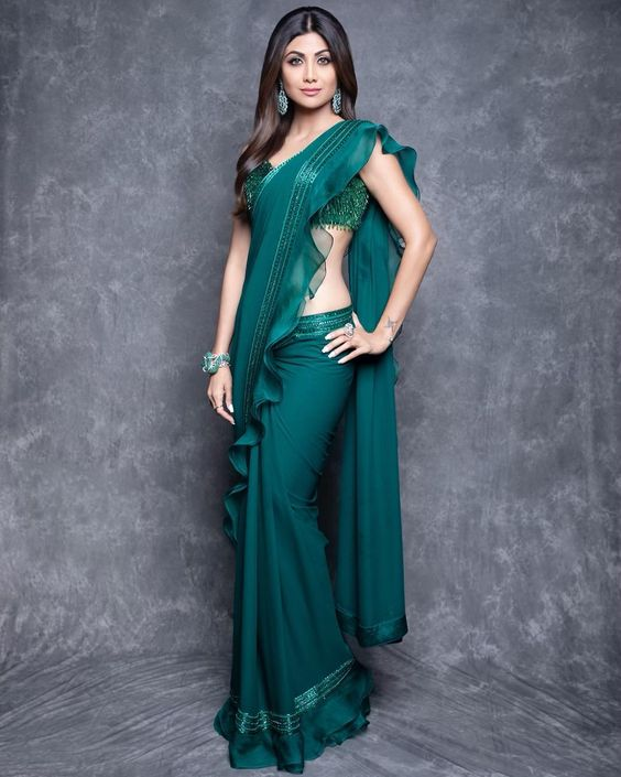Buy Ruffle Saree In Teal Sequin Blouse SF83INS