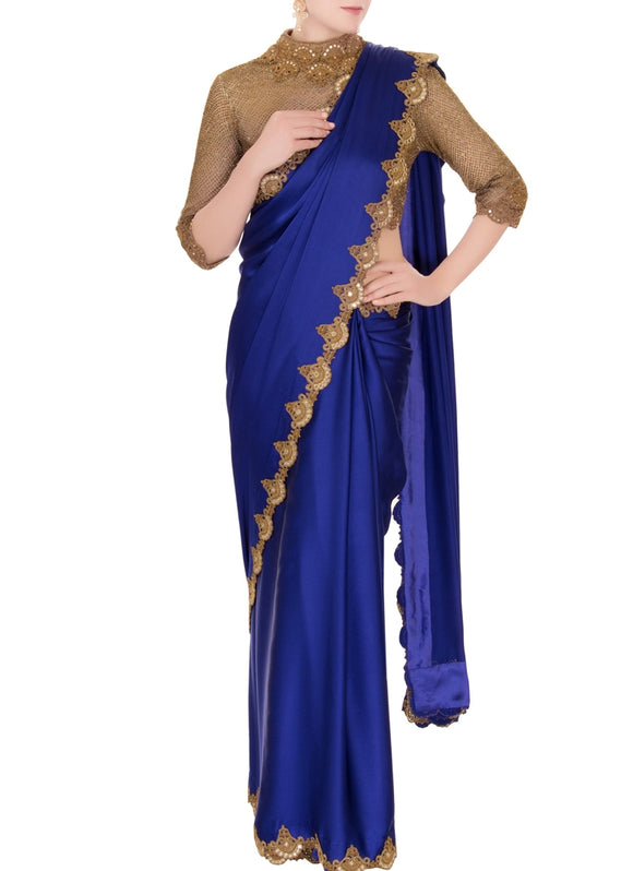Blue Evening Party Saree In Satin With Gold Blouse SFINS54 - Siya Fashions