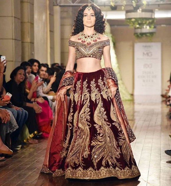 Bridal Maroon Gold Kangana Inspired Lehenga Handcrafted SF093DF