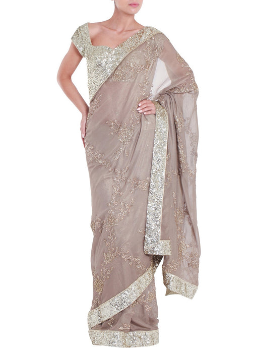 Buy Grey Elegant Saree In Net SF127IN - Siya Fashions