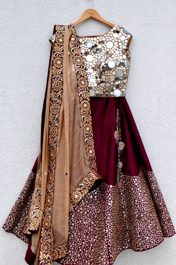 Designer Bridal Silk Mirror Work Lehenga In Red SF004IN