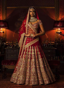 Miraculous Red Bridal Wear Lehenga Choli In Silk SFIN302 - Siya Fashions
