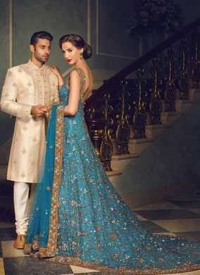 Rebellious Bridal Walima Reception Blue Net Trail Gown SFIN7032