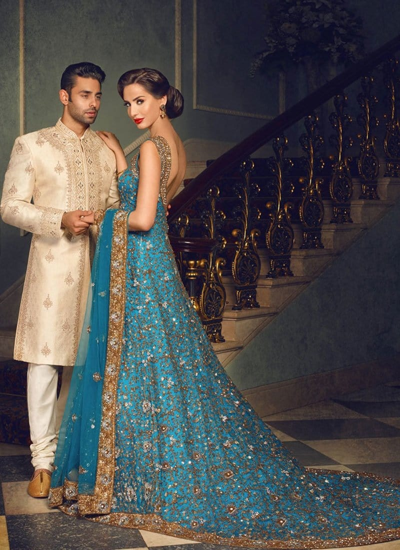 Rebellious Bridal Walima Reception Blue Net Trail Gown SFIN7032 - Siya Fashions