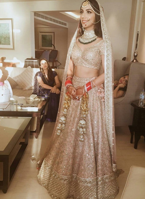 Revolutionary Pink Gold Asian Bridal Lehenga In Silk SFIN20023 - Siya Fashions