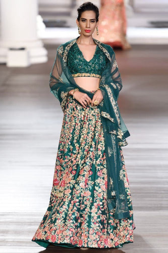 Royal Green Bridal Reception Lehenga In Silk SFIN223 - Siya Fashions