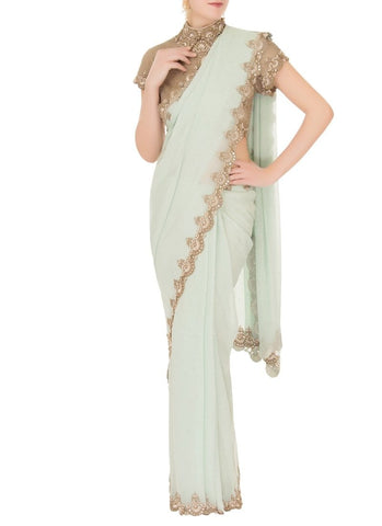 Royal Mint Gold Saree In Georgette SF321IN - Siya Fashions