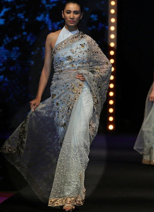 Shimmering Grey Net Saree With Fully Sequined SF0223IN - Siya Fashions