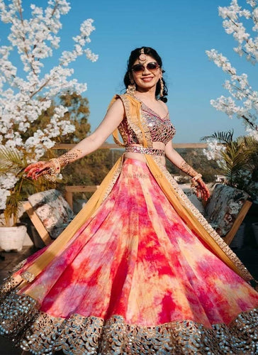 Silk Wedding Lehenga In Shaded Pink Orange  SF1107IN - Siya Fashions