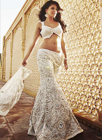 Cocktail White Bridal Reception Lehenga In White SFIN1110SD