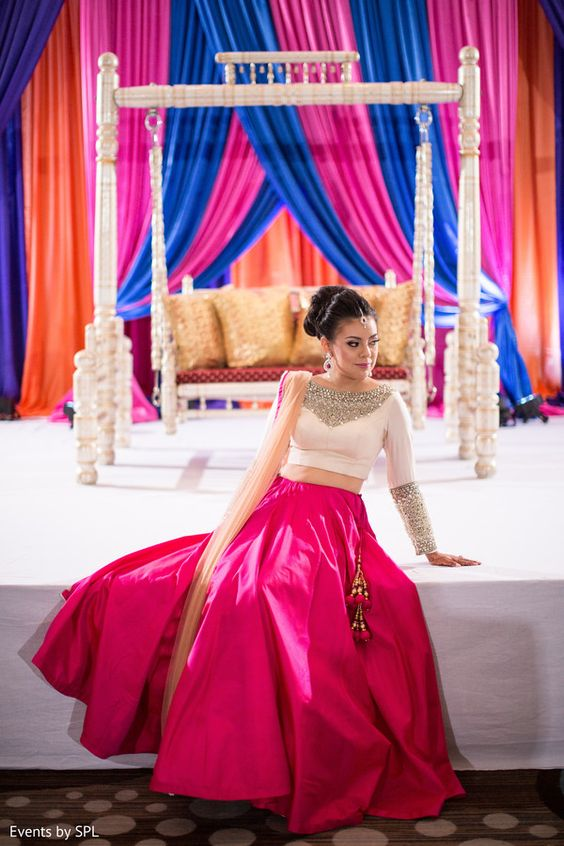Engagement Lehenga Pink With Sequin Work SFIN310 - Siya Fashions
