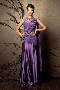 Galvanize Purple Silk Saree Gown Zari Work SF081IN - Siya Fashions