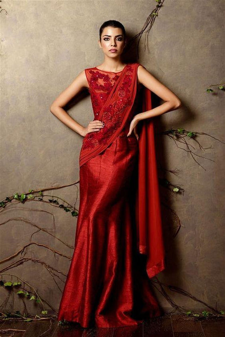 Galvanize Red Silk Saree Gown Zari Work SF080IN - Siya Fashions