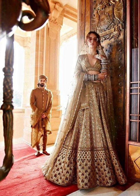 Gold Bridal Lehenga Choli Prom Dress SF5542INSD - Siya Fashions