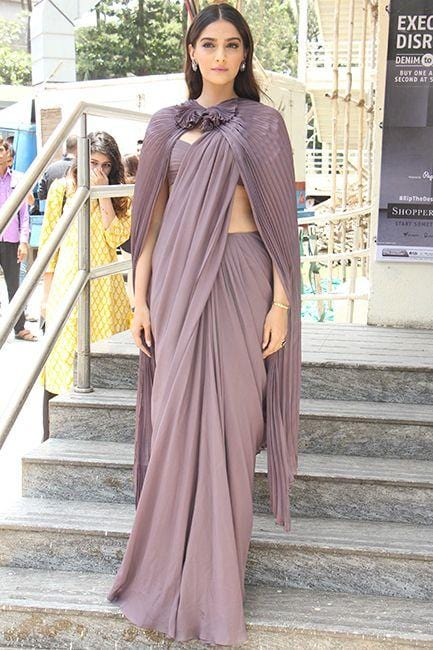 Ready To Wear Mauve Saree With Cape SF77INS - Siya Fashions