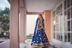 Handcrafted Royal Blue Bridal Lehenga In Blue SFINS265 - Siya Fashions