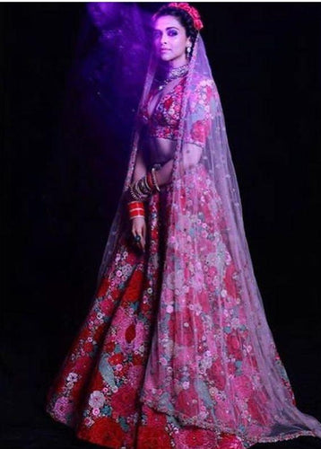 Royal Bridal Red Floral Lehenga Choli SFIN4321SB - Siya Fashions