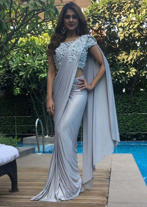 Silver Grey Saree Jennifer Winget Saree SF89INKAL - Siya Fashions