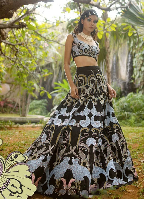 Black Cocktail Wedding Reception Lehenga With Colourful Zari Work SFIN0909 - Siya Fashions