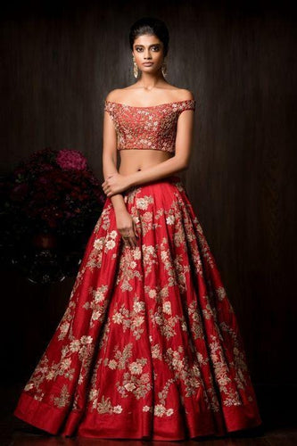 Insane Bridal Lehenga Choli Gold Embroidery Work SFIN0906 - Siya Fashions