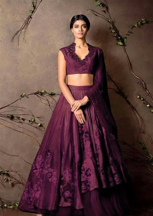 Wedding Purple Lehenga Choli Floral Embroidery Patch Work SFIN0907 - Siya Fashions