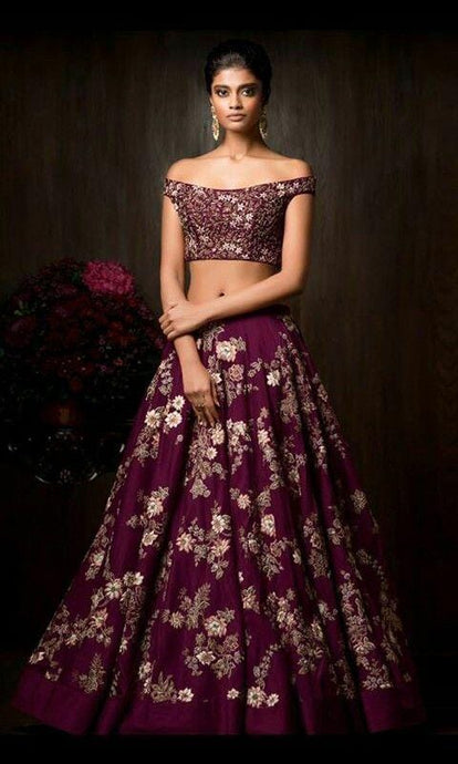 Wedding Wine Lehenga Choli Floral Embroidery Work SFIN0908 - Siya Fashions