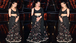 Black Party Wear Lehenga Choli With Floral Sequin SF0132IN - Siya Fashions
