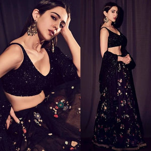 Black Party Wear Lehenga Choli With Floral Sequin SF0132IN
