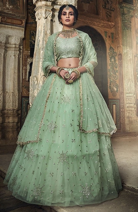 Haute Couture Mint Cocktail Lehenga In Net SIYA433BR - Siya Fashions