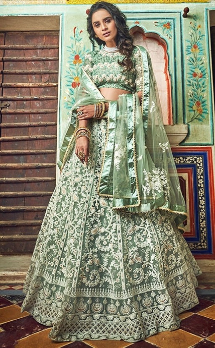 Haute Couture Pastel Green Cocktail Lehenga In Net SIYA4322BR - Siya Fashions