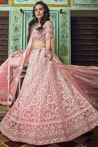 Haute Couture Peach Cocktail Lehenga In Net SIYA4323BR - Siya Fashions