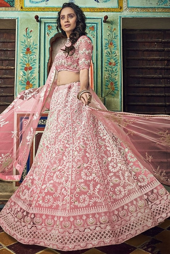 Haute Couture Peach Cocktail Lehenga In Net SIYA4323BR