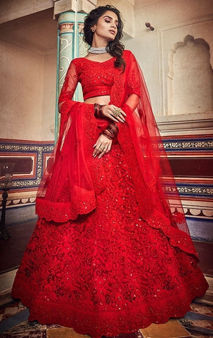 Haute Couture Red Bridal Lehenga In Net SIYA434BR - Siya Fashions