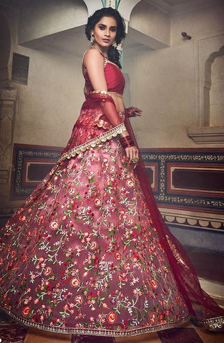 Haute Couture Red Sangeet Lehenga In Net SIYA432BR
