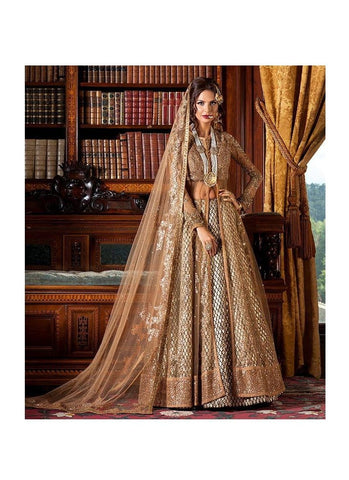 Heritage  Bridal Lehenga In Brown Gold Diamond Work SFIN800SD - Siya Fashions