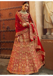 Hot Designer Red Color Velvet Gorgeous Lehenga Choli SYD21569 - Siya Fashions
