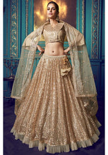 Load image into Gallery viewer, Hot Gold Ruffled Sequins Cocktail Wedding Reception Net Lehenga Set SF42WD - Siya Fashions