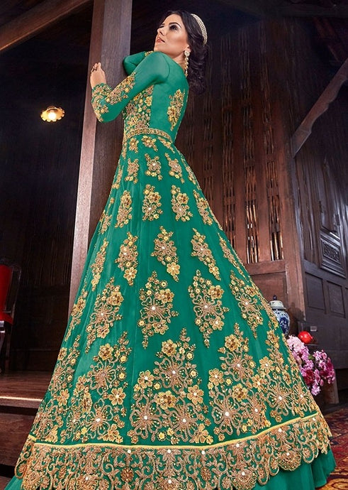 Hot Green Pure Net Lehenga Kameez Suit SFYDS9554 - Siya Fashions