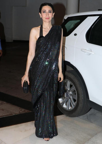 Karishma Kapoor Black Sequin Saree Satin Blouse SF143BOL - Siya Fashions