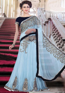 Ice Blue Partywear Saree In Net Embroidery Work SF2021EX - Siya Fashions