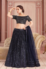 Load image into Gallery viewer, Illusion Mirror Work Navy Sequin Indian Lehenga Choli Designs SF76332YDS - Siya Fashions