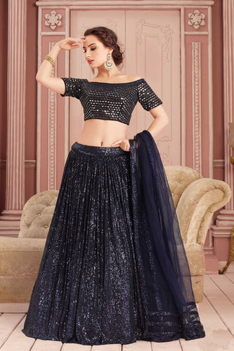 Illusion Mirror Work Navy Sequin Indian Lehenga Choli Designs SF76332YDS