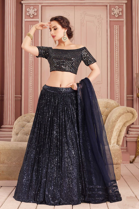Illusion Mirror Work Navy Sequin Indian Lehenga Choli Designs SF76332YDS - Siya Fashions