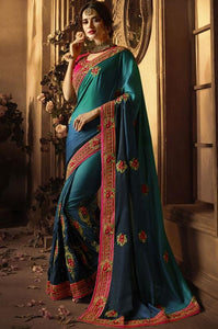 Implosive Designer Saree In Teal SF8012 - Siya Fashions