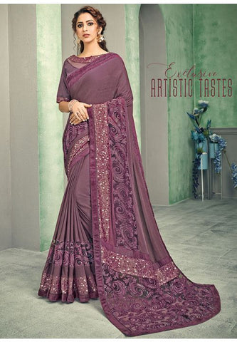 Indian Wedding Party Lycra Saree In Purple Mauve With Blouse SIYA34YSD - Siya Fashions