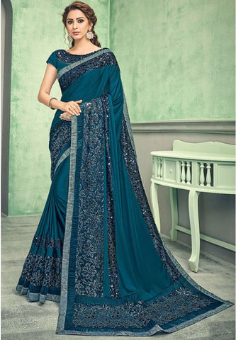 Indian Wedding Party Saree In Lycra Teal With Blouse SIYA64YSD - Siya Fashions