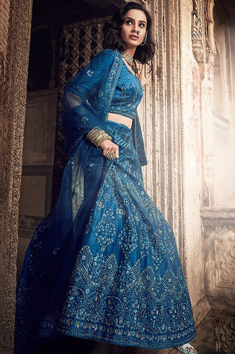 Ink Blue Bridal Lehenga Art Silk Zarkan Work SF31BRI - Siya Fashions
