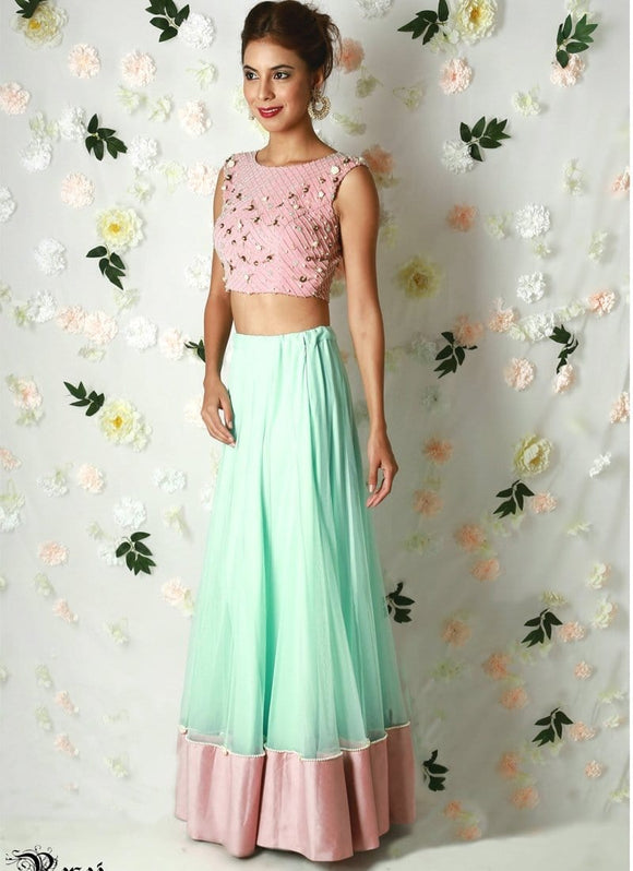 Intense Asian Party Lehenga Skirt Blouse Top SFIN43 - Siya Fashions
