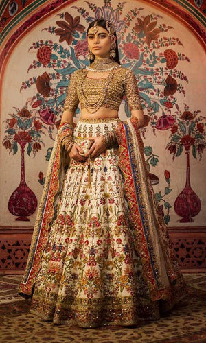Ivory Wedding Bridal Luxury Rich Lehenga Choli SIYAINS800 - Siya Fashions